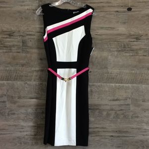 Black, white, and pink sleeveless dress